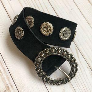 The Kooples Jeweled Medallion Leather Suede Belt